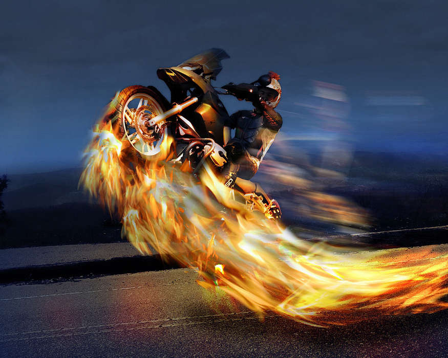 Download mobile wallpaper Transport Fire Art photo Motorcycles 875x700