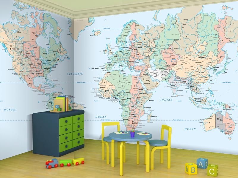 World map wallpaper for kids wallpapersafari for Kids room world map