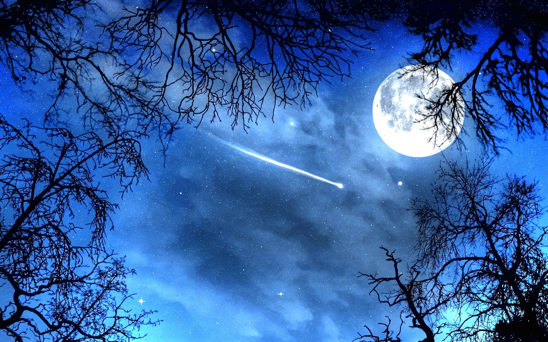 Blue Night Sky Wallpaper