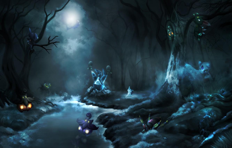 Wallpaper night art halloween Halloween pokemon pokemon 1332x850