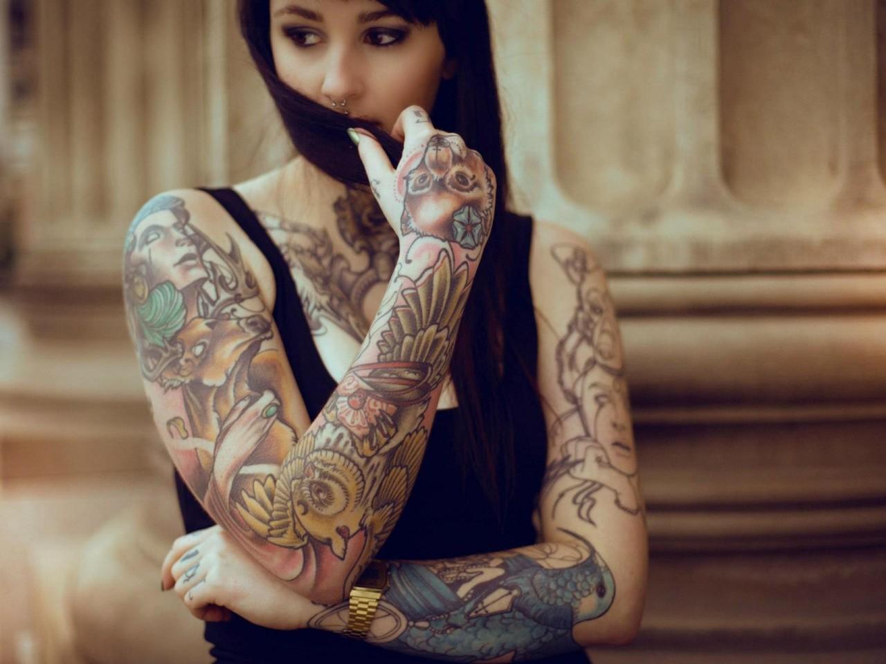 Free Download Tattoos Girls White Sexy Blonde Hot Wallpaper Images