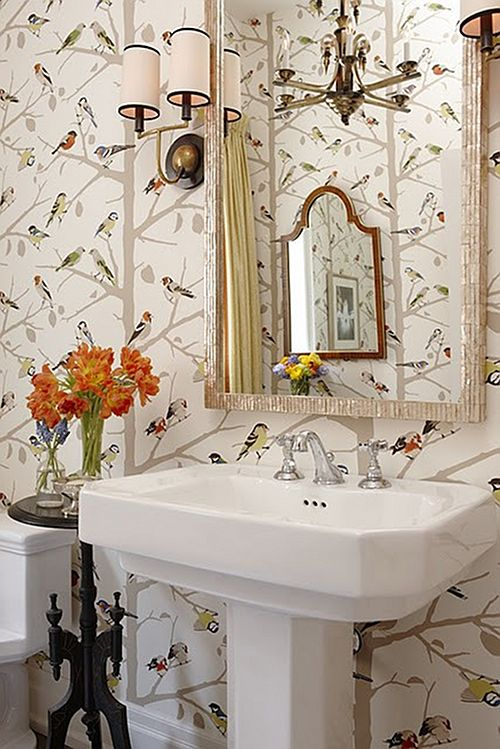 Wallpapered cloakrooms powder rooms First Sense 500x749