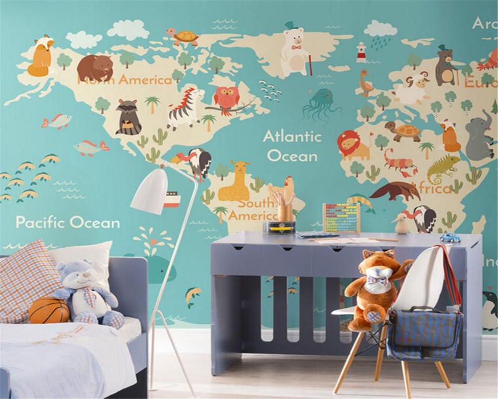 Beibehang Cartoon Animal Map Kids Room Kindergarten Garden 1000x800
