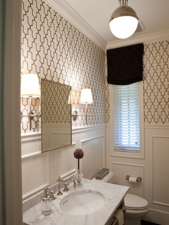 inspired grasscloth from Phillip Jeffries and white wainscoting 550x734