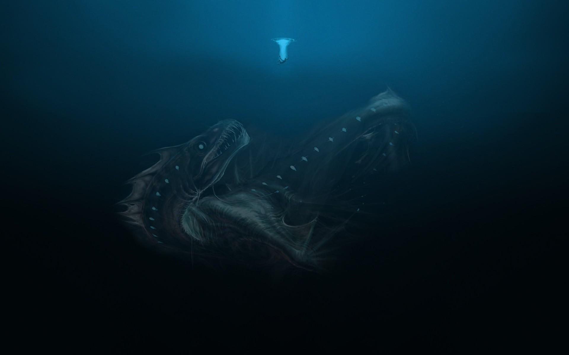 underwater Deep sea Sea monsters Wallpapers HD Desktop 1920x1200