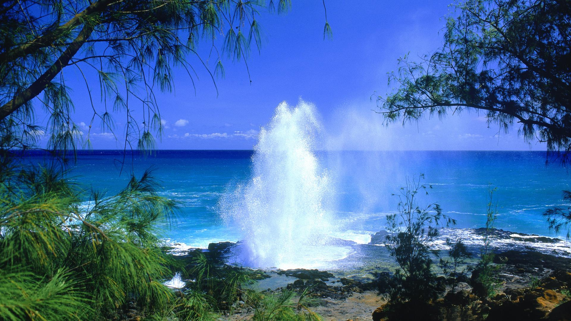 backgrounds desktop wallpaper hawaii spouting beach kauai 1920x1080