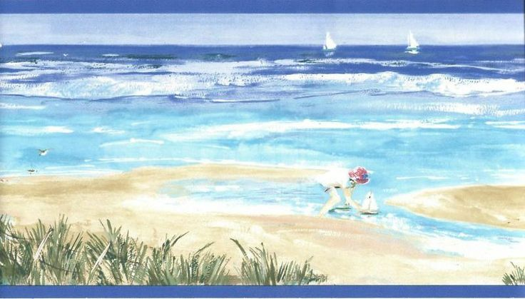 Beach Wallpaper Borders for Bathrooms Blue Playing On The Beach 736x419