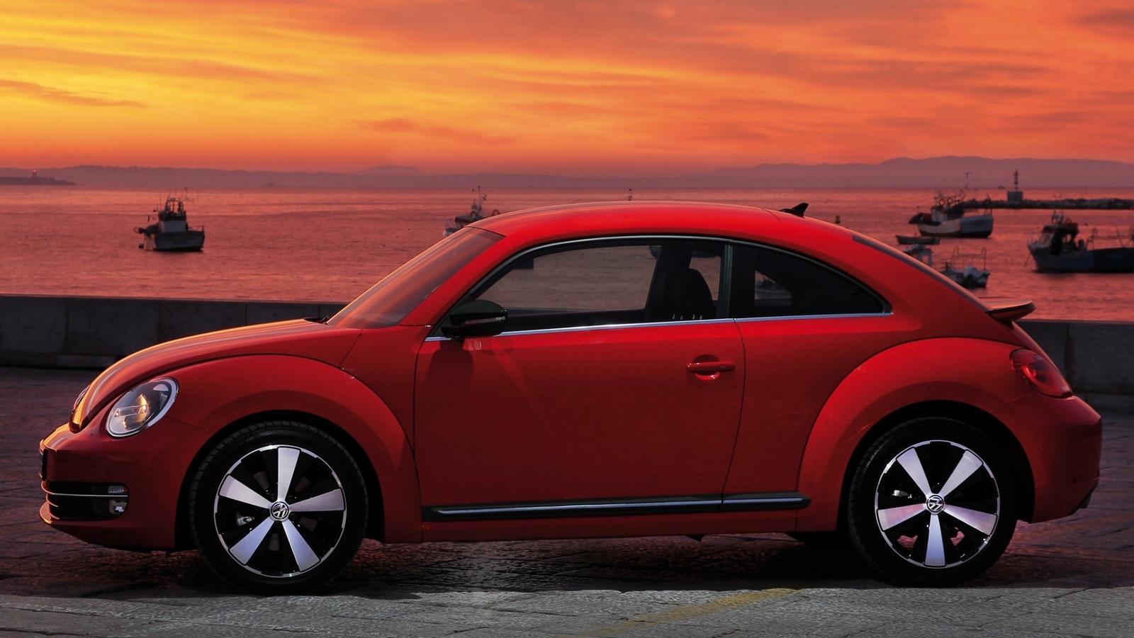 Download wallpaper 1600x900 volkswagen fusca red side view 1600x900