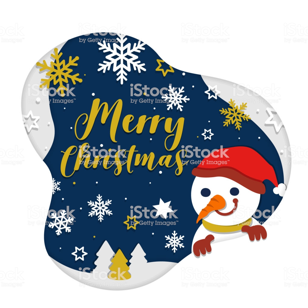 Christmas And New Year Card On Dark Navy And Snow Background With 1024x1024