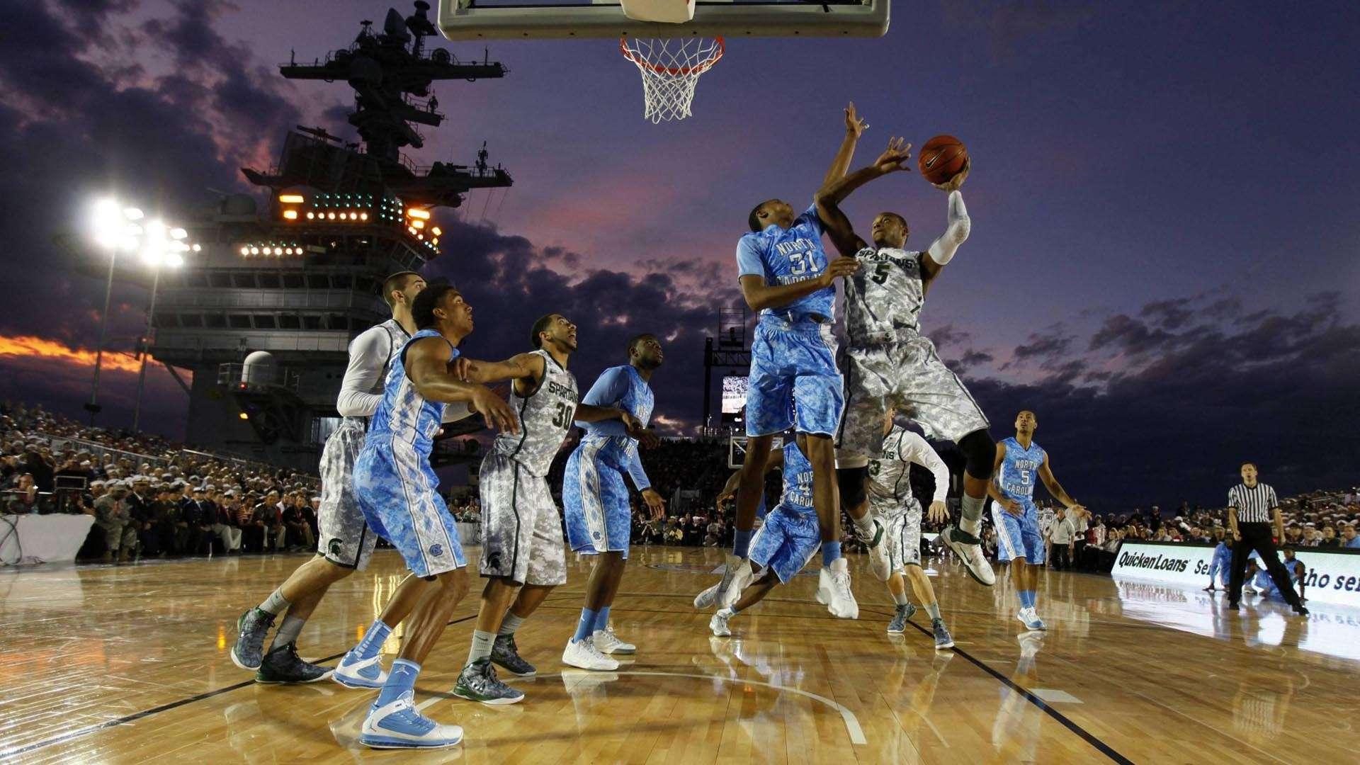 College basketball game on an aircraft carrier HD Wallpaper 1920x1080