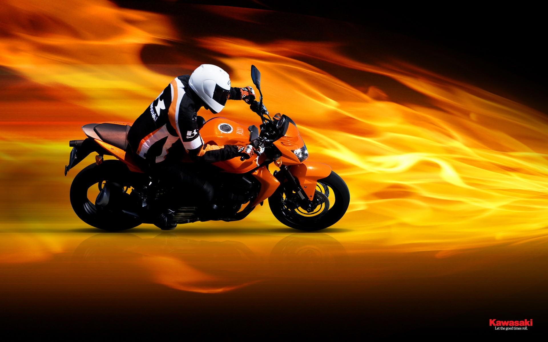 Kawasaki Z750 bike fire kawasaki motorcycle z750 1920x1200