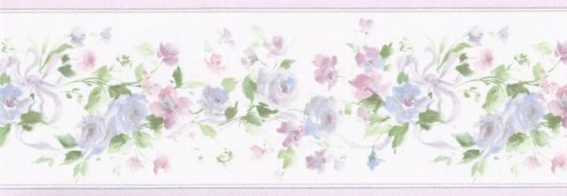 Purple Elegant Floral Wallpaper Border   Garden Floral 640x222