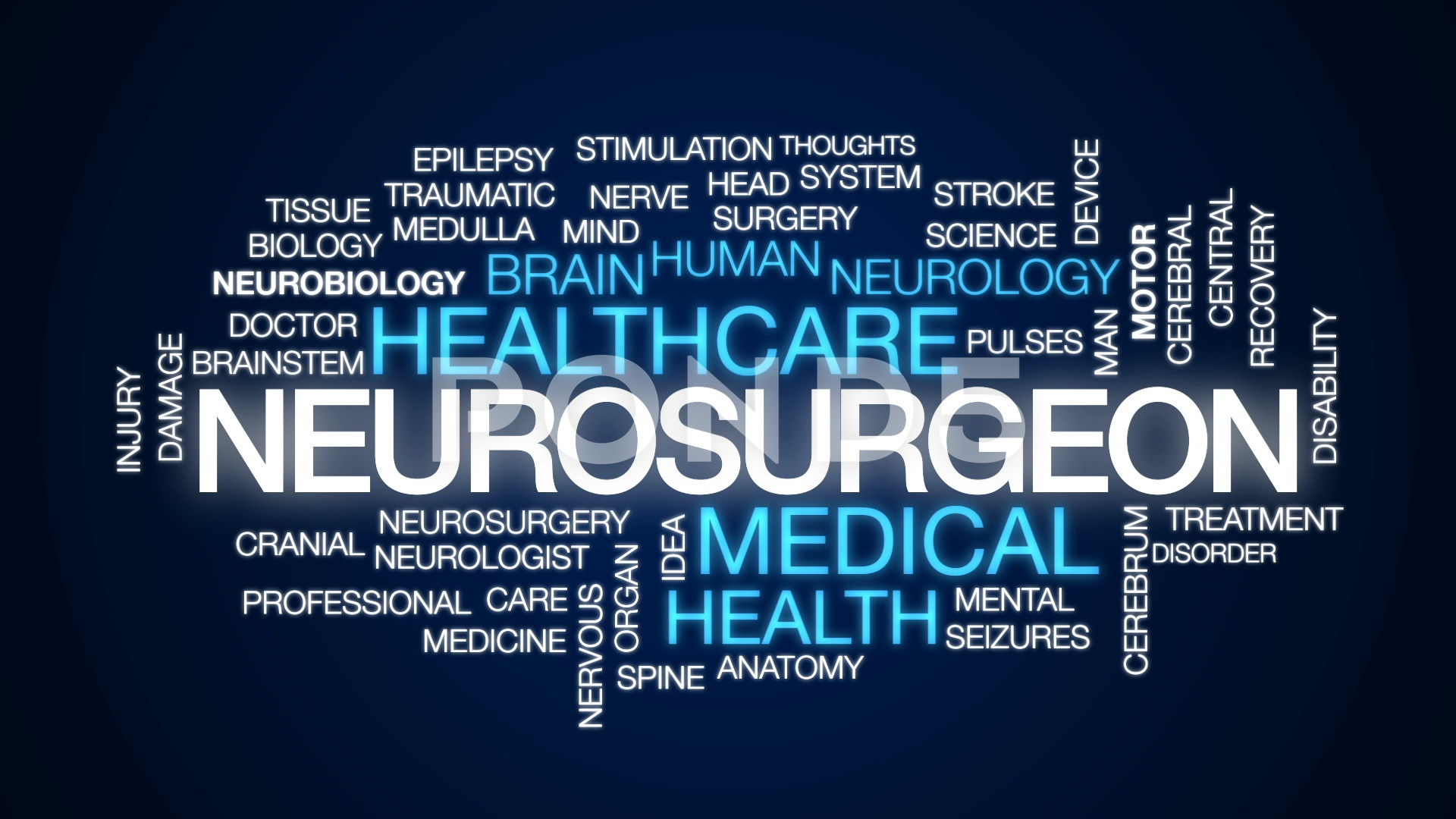 Neurosurgeon animated word cloud text design animation Hi Res 1920x1080