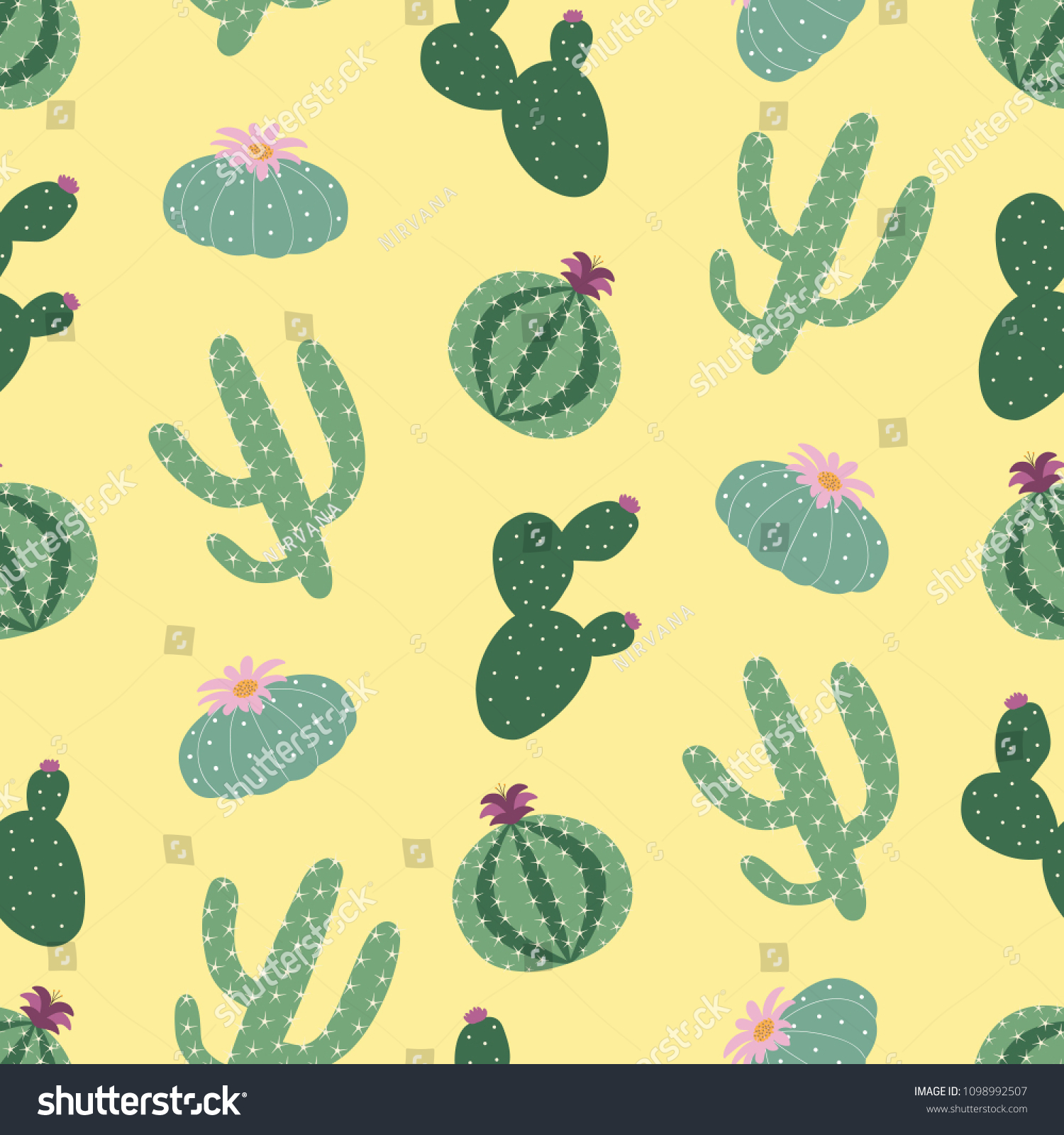 Green Plants Cactus Peyote Seamless Pattern Stock Vector Royalty 1500x1600