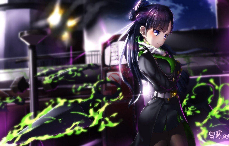 Wallpaper girl weapons magic smoke anime art Owari no Seraph 1332x850