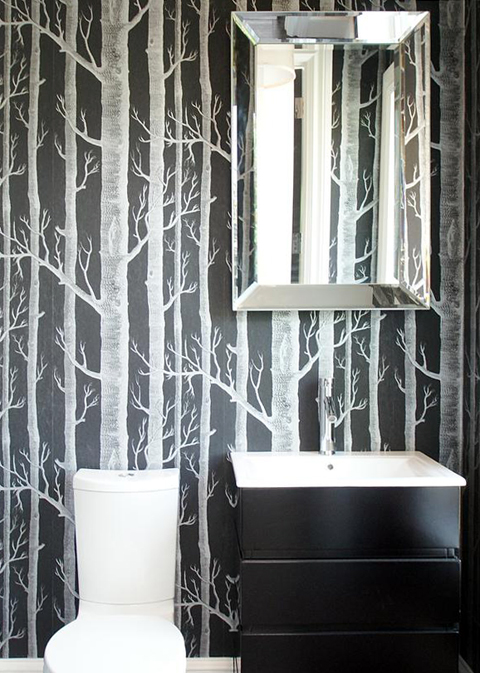 Wooded Birch Tree Wallpaper in Black and White Bathroom from HGTVcom 480x673