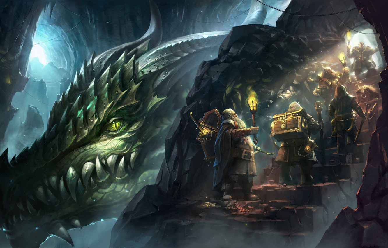 Wallpaper gold dragon mountain fantasy art dwarves torch 1332x850