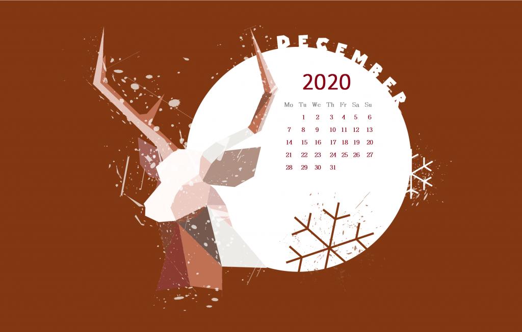 December 2020 Desktop Wallpaper Calendar wallpaper Christmas 1024x652