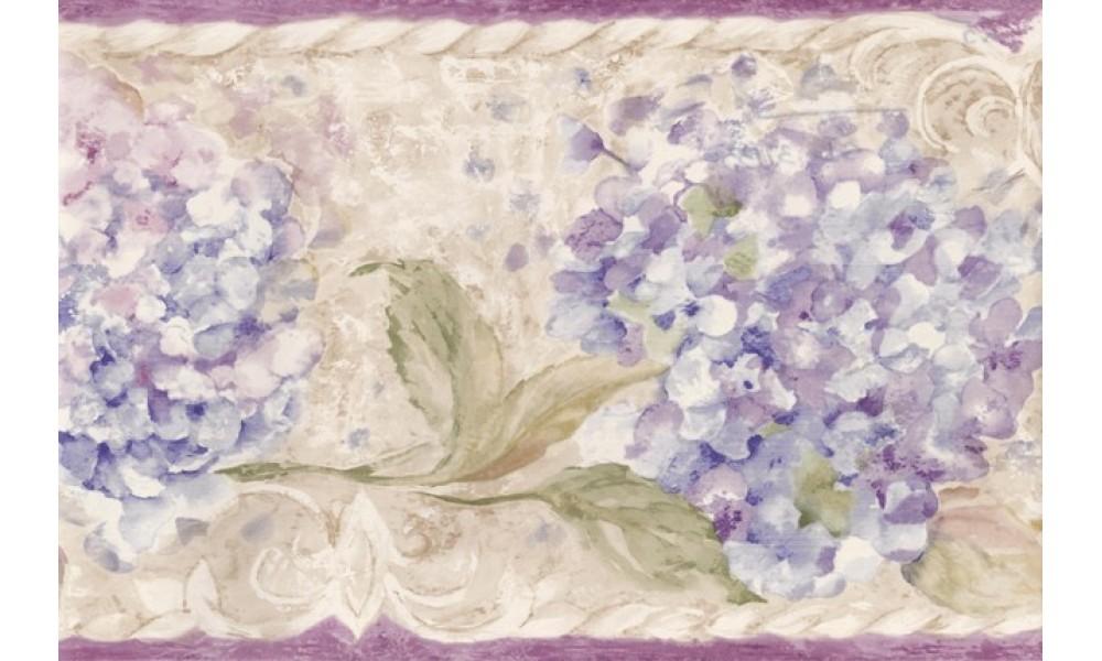 Home Purple Cream Blue Floral Wallpaper Border 1000x600