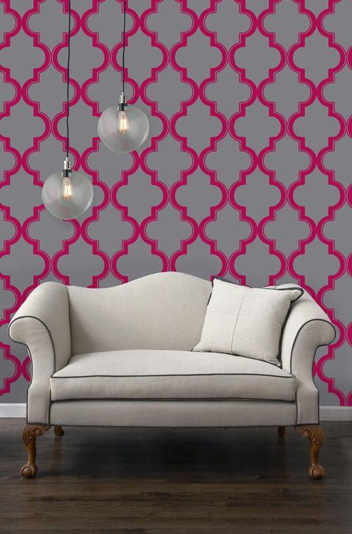 Marrakesh Temporary Wallpaper   Ruby Slate [Peel 24033] Designer 500x757
