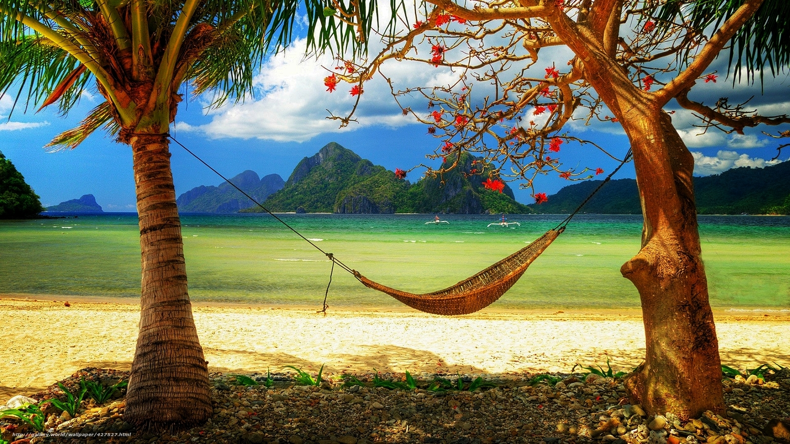 Wallpapers caribbean paradise sunshine sea beach hammock on 1600x900