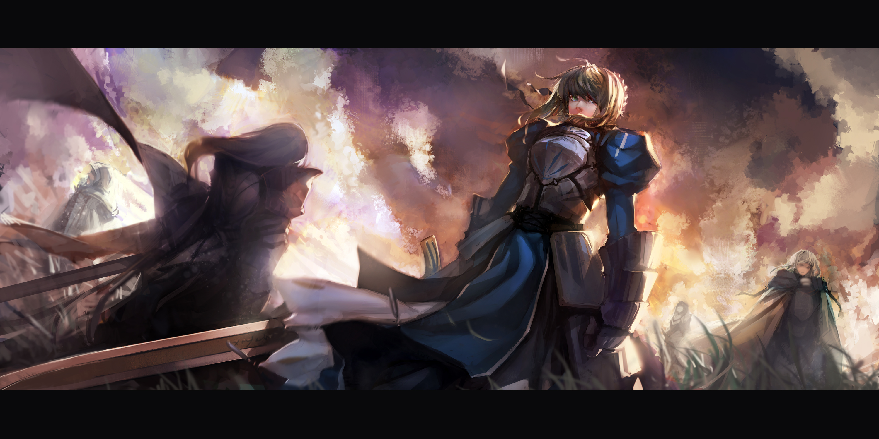 dress fate stay night fate zero saber sword weapon Randomness Thing 3000x1500
