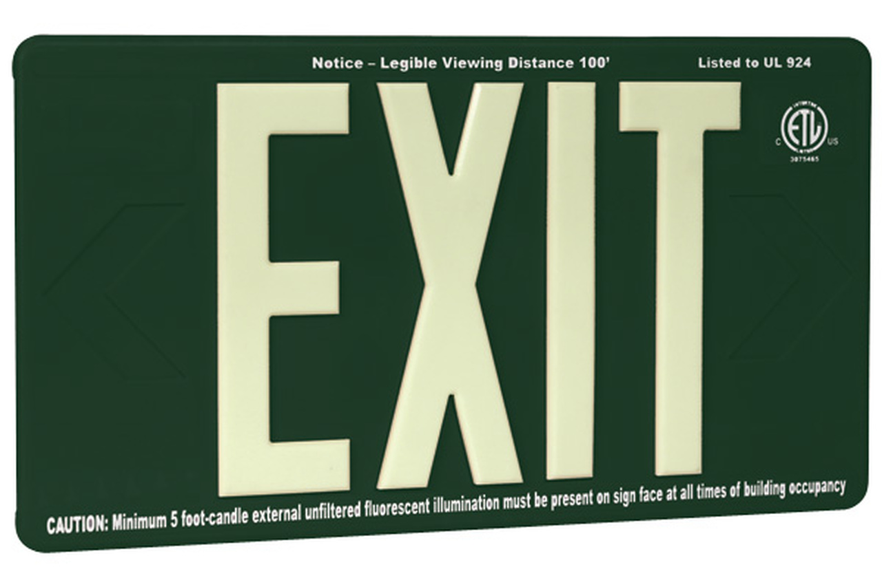 100 Outdoor Glow In The Dark Exit Sign with Green Background 1280x853
