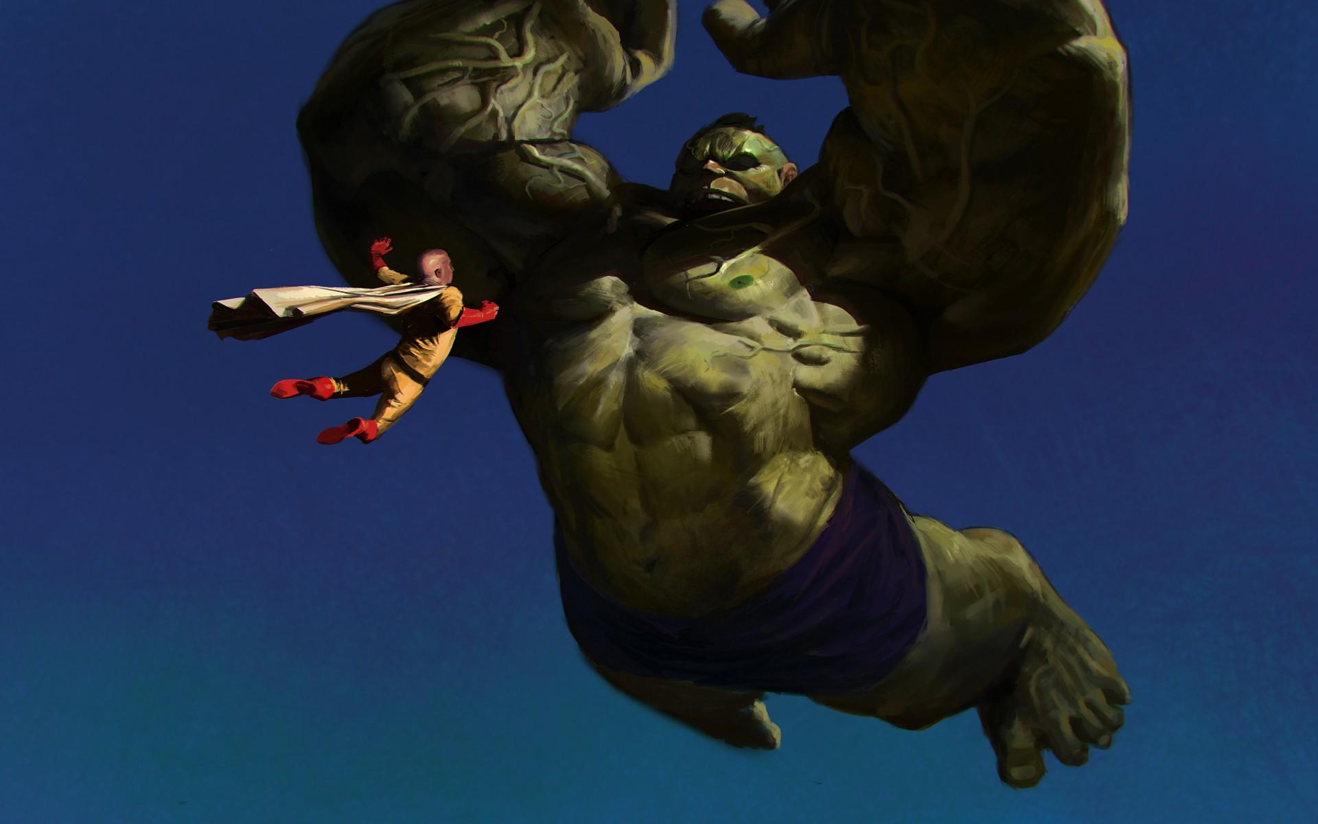 Free Download Hulk And Saitama One Punch Man Fight Fantasy Art
