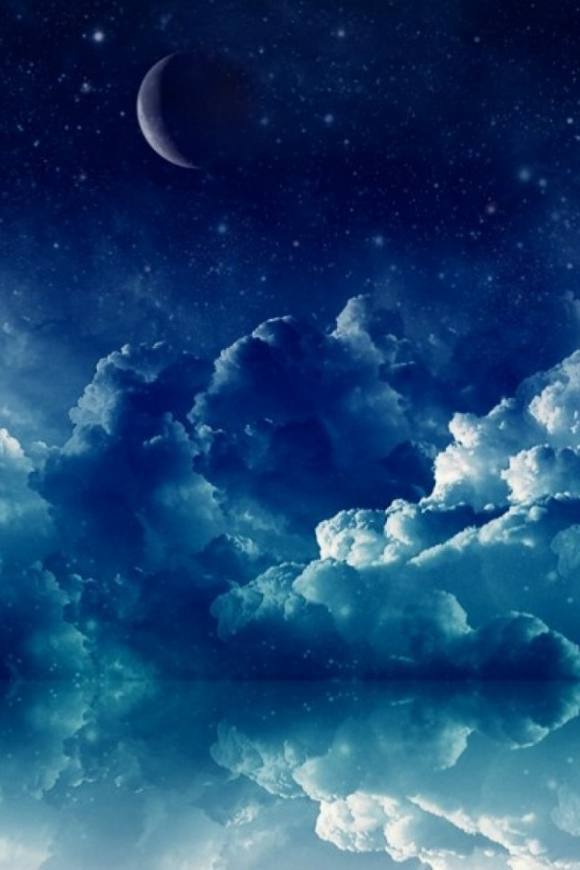 640x960 Pretty Blue Night Iphone 4 Wallpaper
