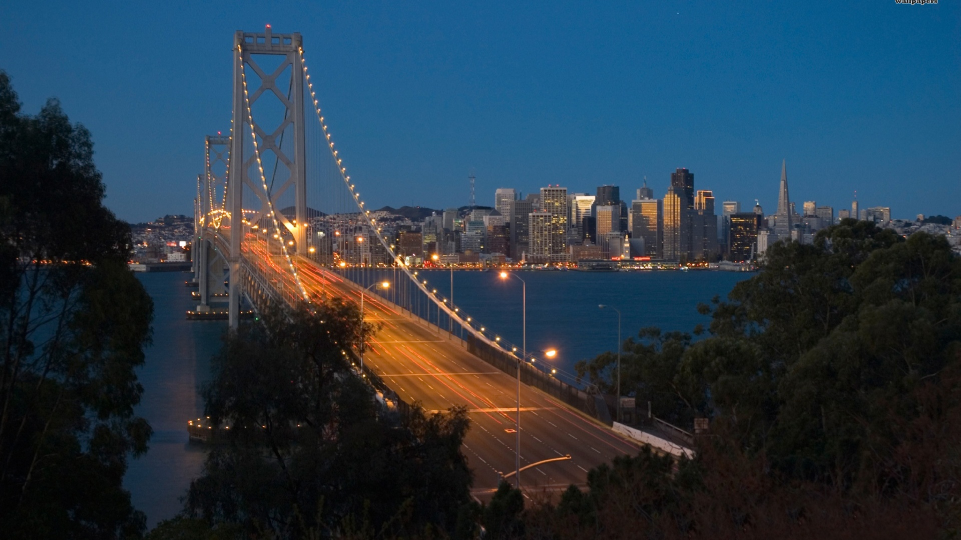 1920x1080 San Francisco Bay Bridge Dusk desktop PC and Mac wallpaper 1920x1080