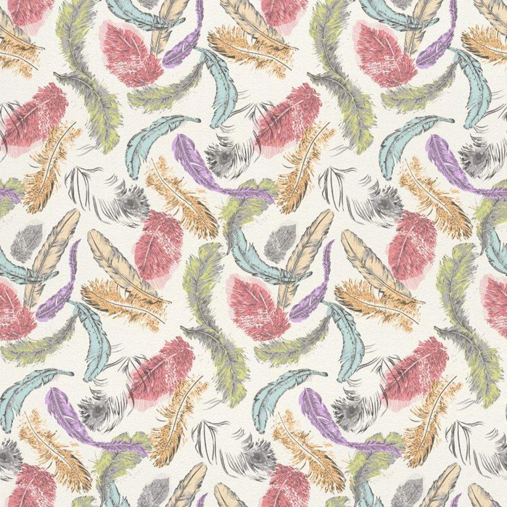 Bird Feathers Pastel Motif Pattern Multi Coloured Wallpaper 712988 1000x1000