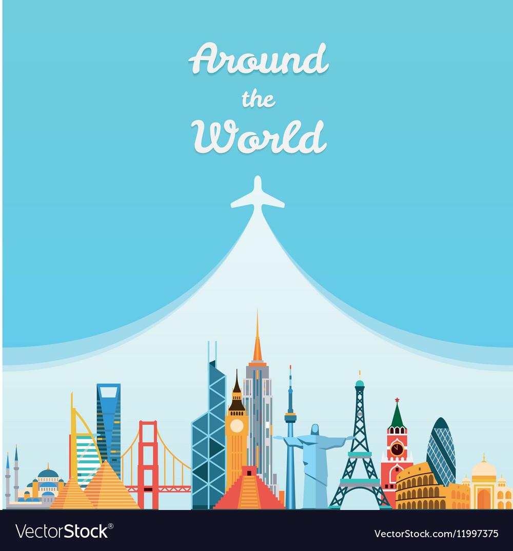 World landmarks Travel and tourism background Vector Image 1000x1075