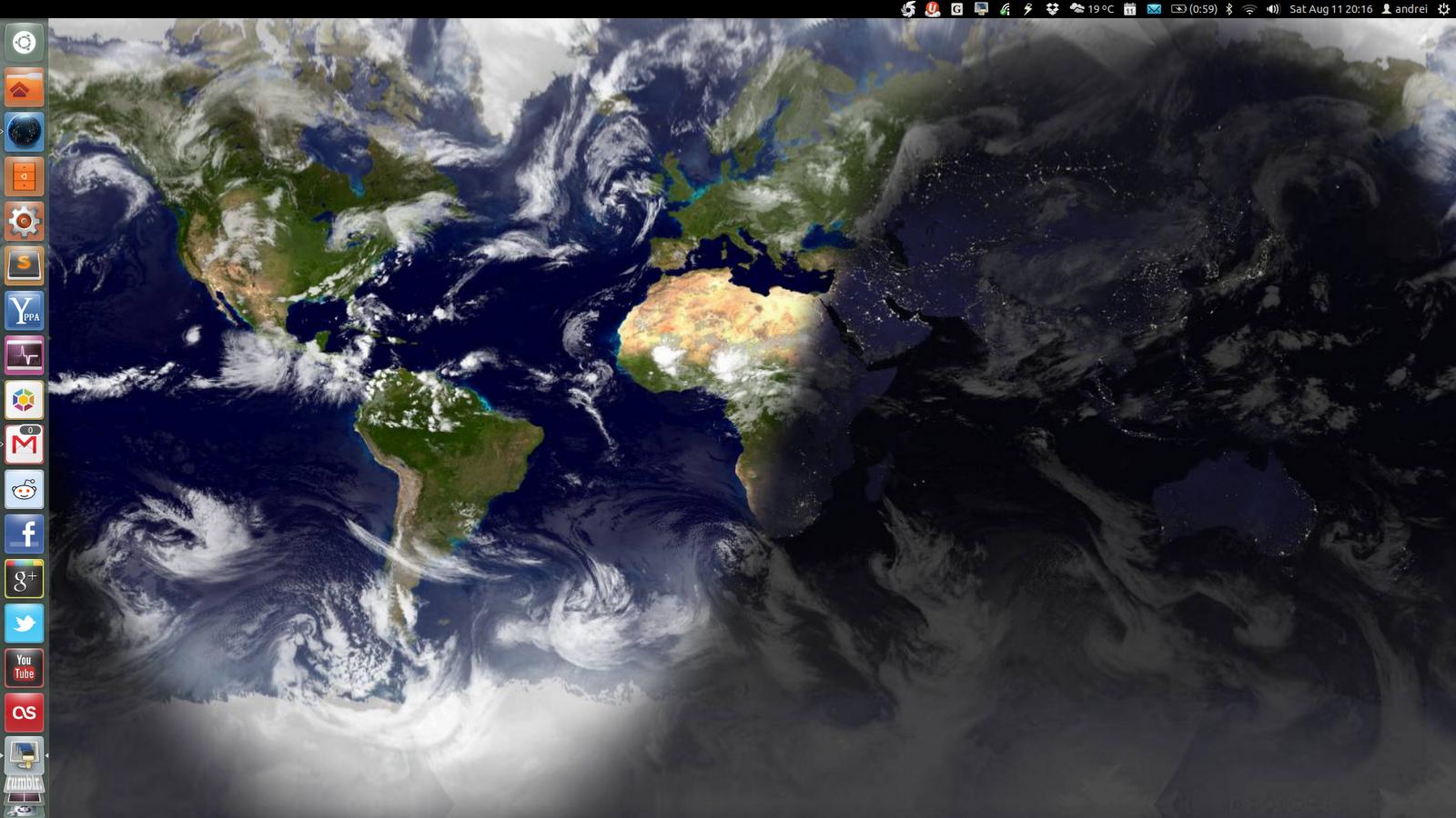 World map screensaver wallpaper wallpapersafari use wallpaper clocks live earth wallpaper in ubuntu with slidewall 1600x900 gumiabroncs Images