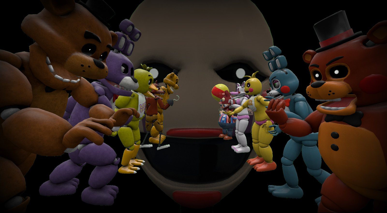 FNAF 1 and 2 Wallpaper by ThePuppet1987 1600x880