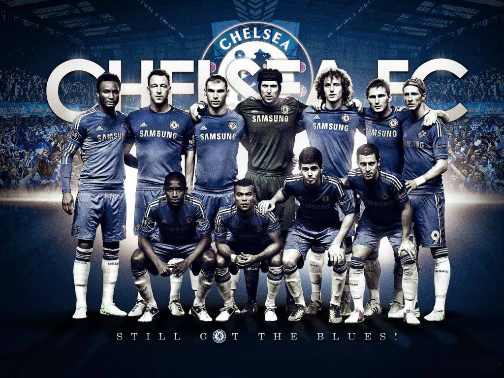 Chelsea Fc Wallpapers HD 2013 with some players and Logo for Chelsea 1024x768