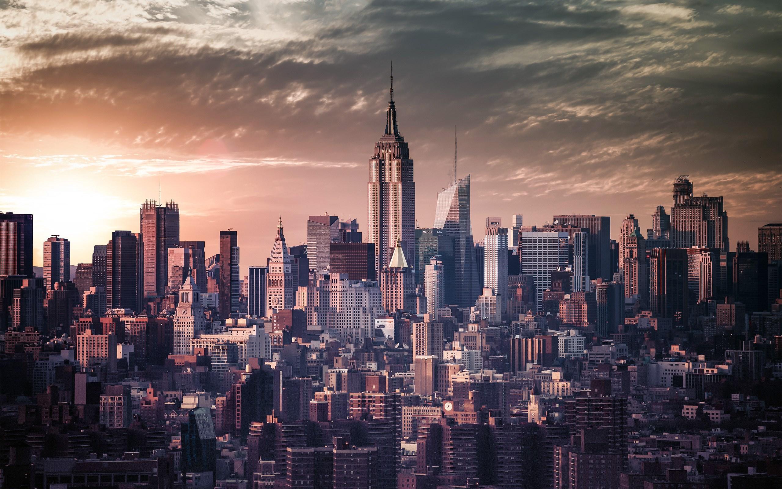 city new york vintage photo skyscrapers evening hd wallpaper 2560x1600