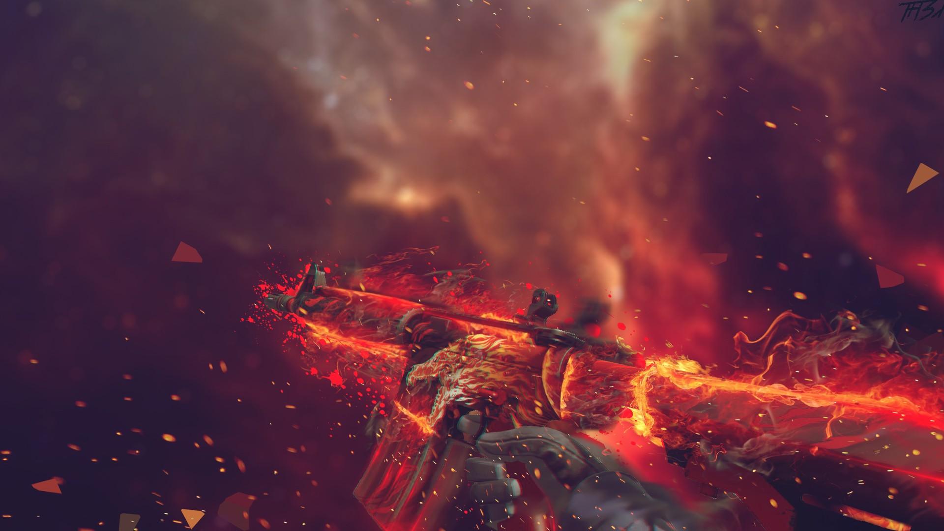 artwork Counter Strike Global Offensive digital art fire 1920x1080