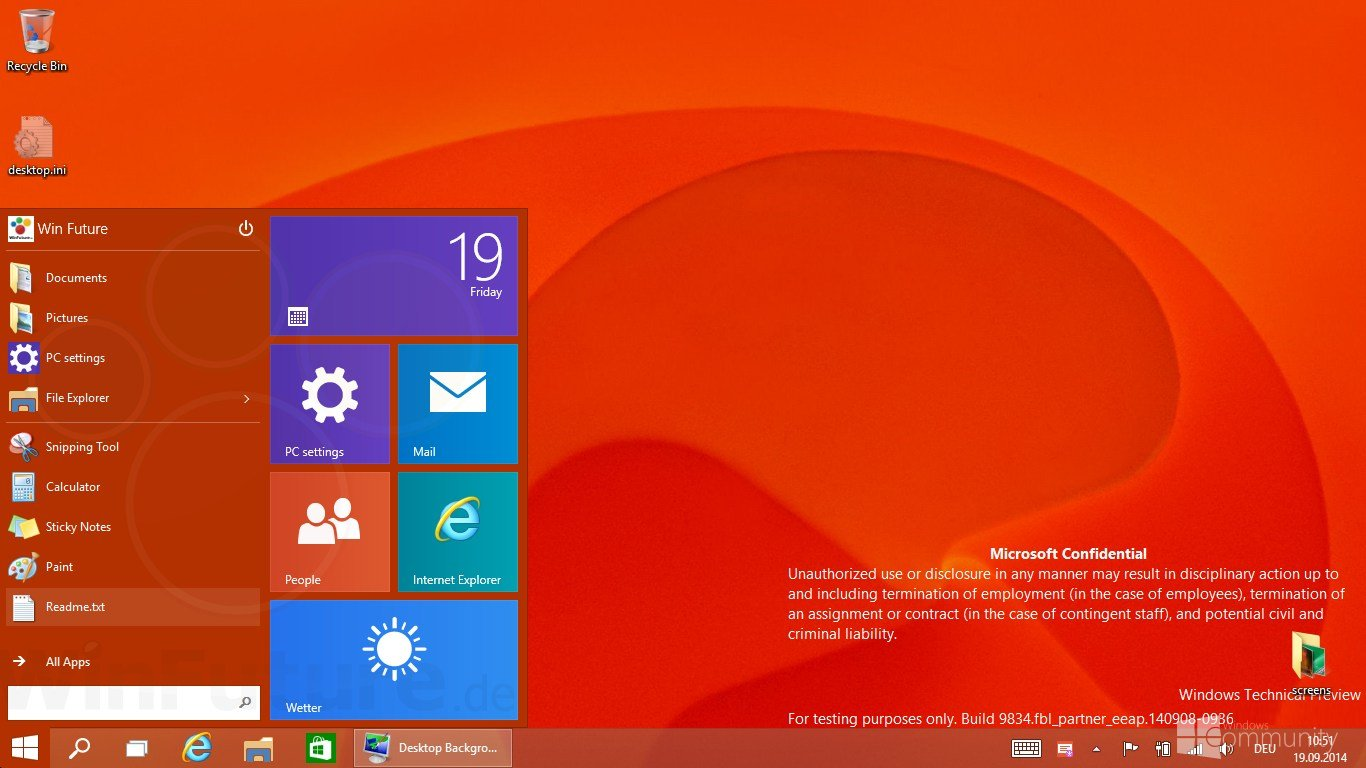 Windows 9 Start menu with live tiles 1366x768