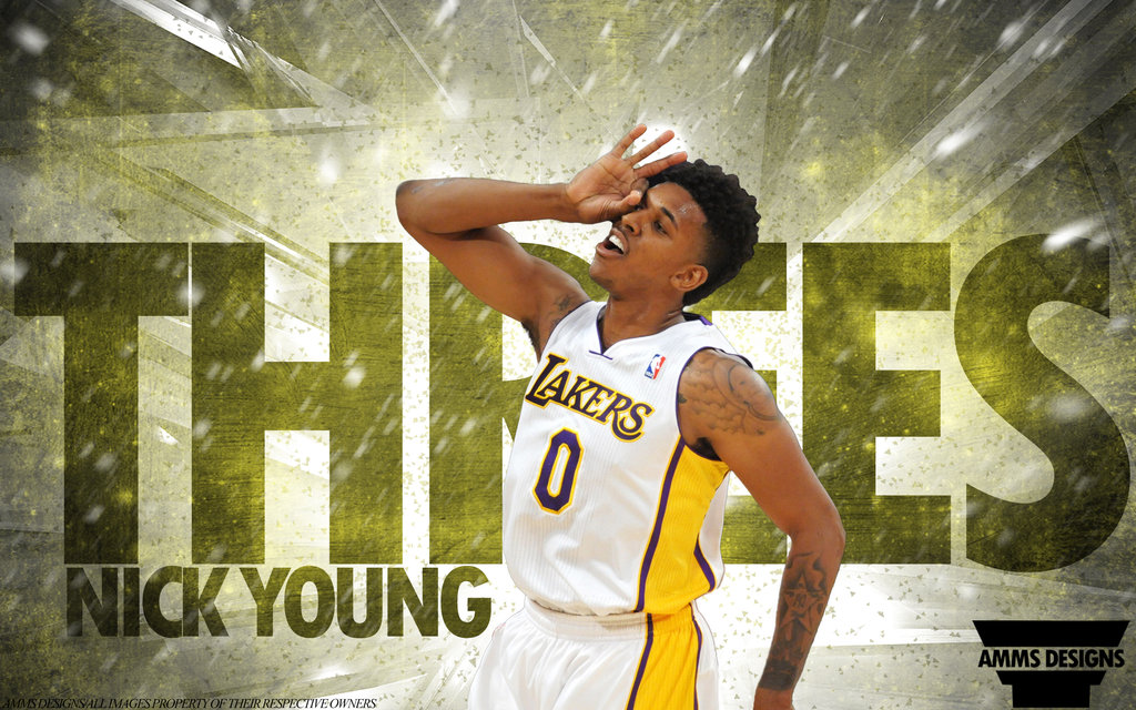 Nick Young Threes Wallpaper by AMMSDesings 1024x640
