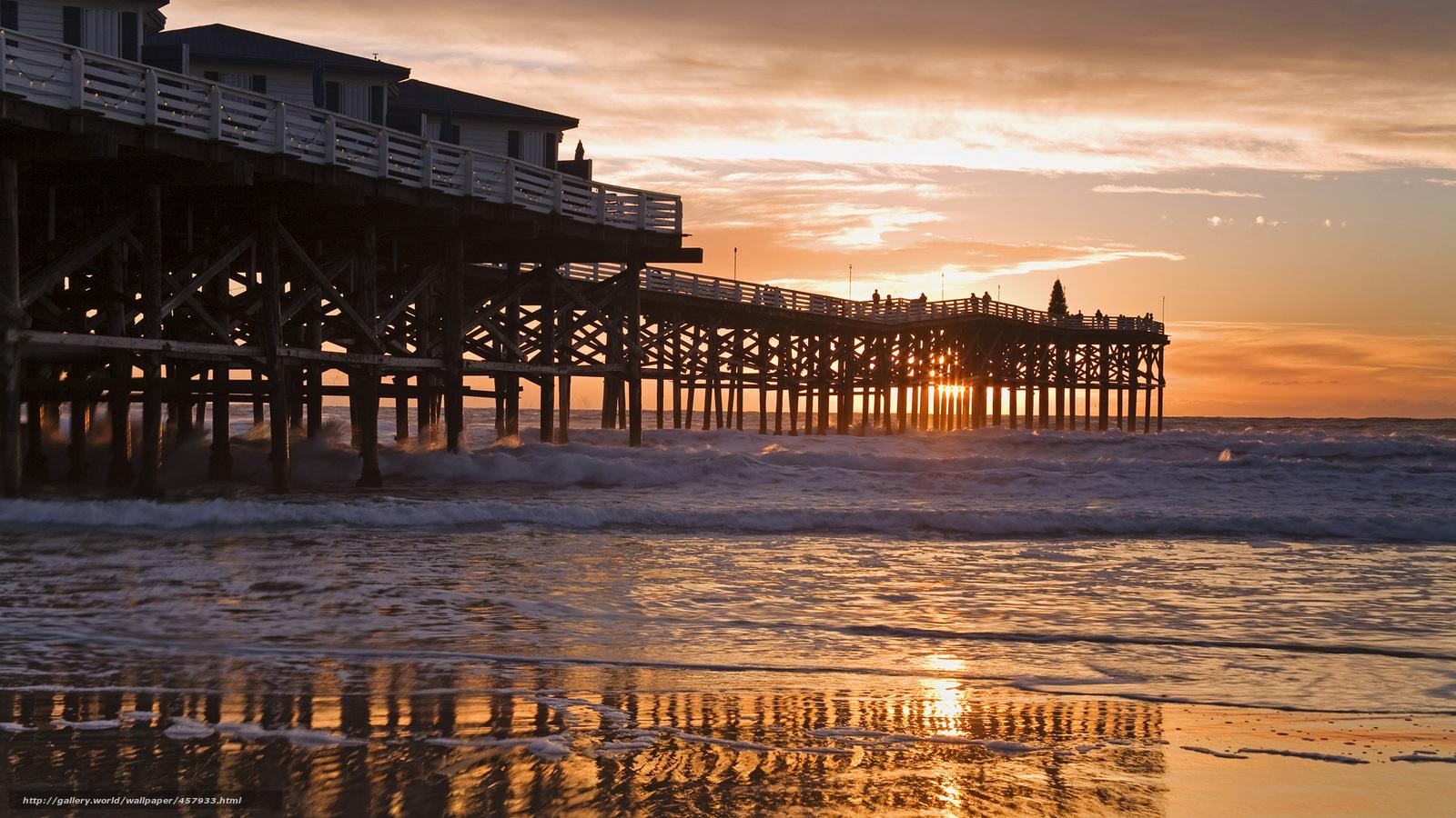 wallpaper pier california beach San Diego desktop wallpaper 1600x900