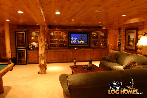 Golden Eagle Log Homes   Lower Level Family Room View 3 HD Wallpaper 600x400