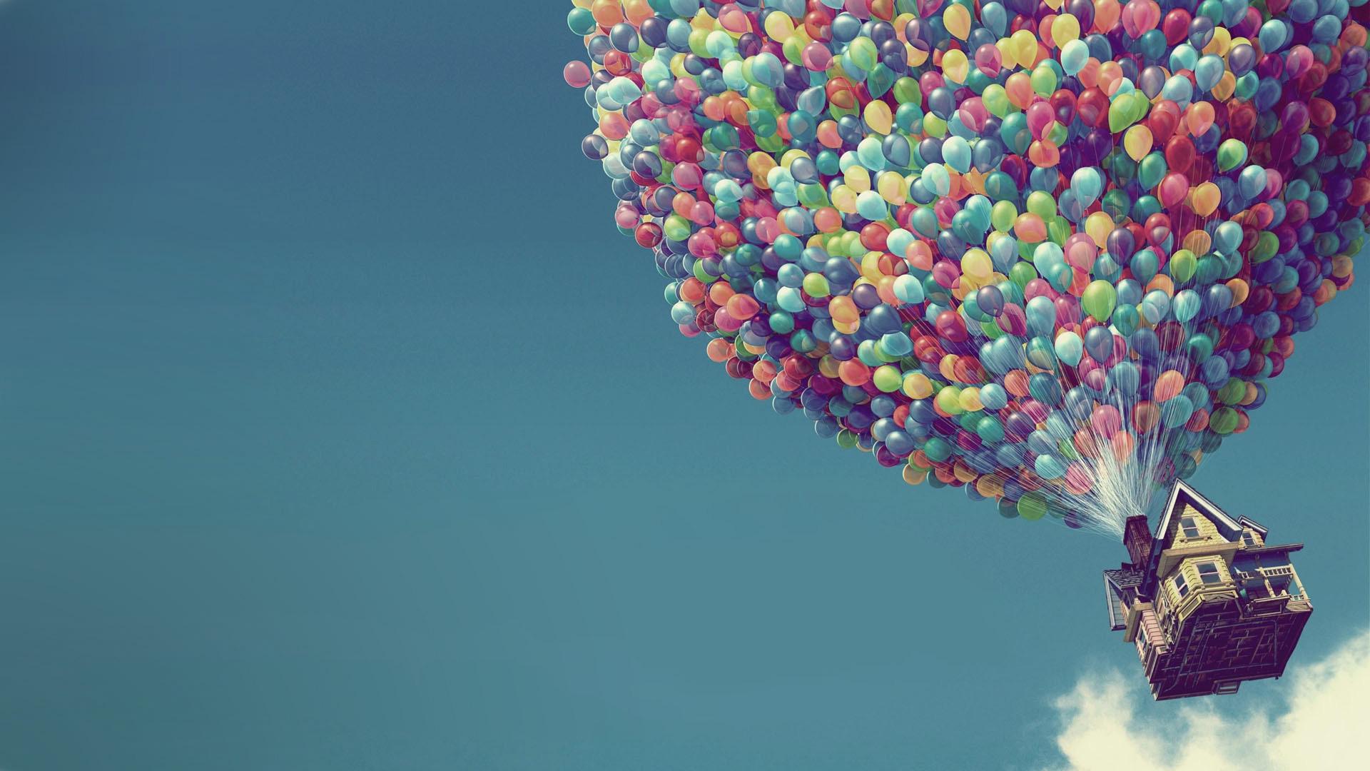 UP Disney Pixar cartoon Full HD Wallpaper Balloons and the House 1920x1080