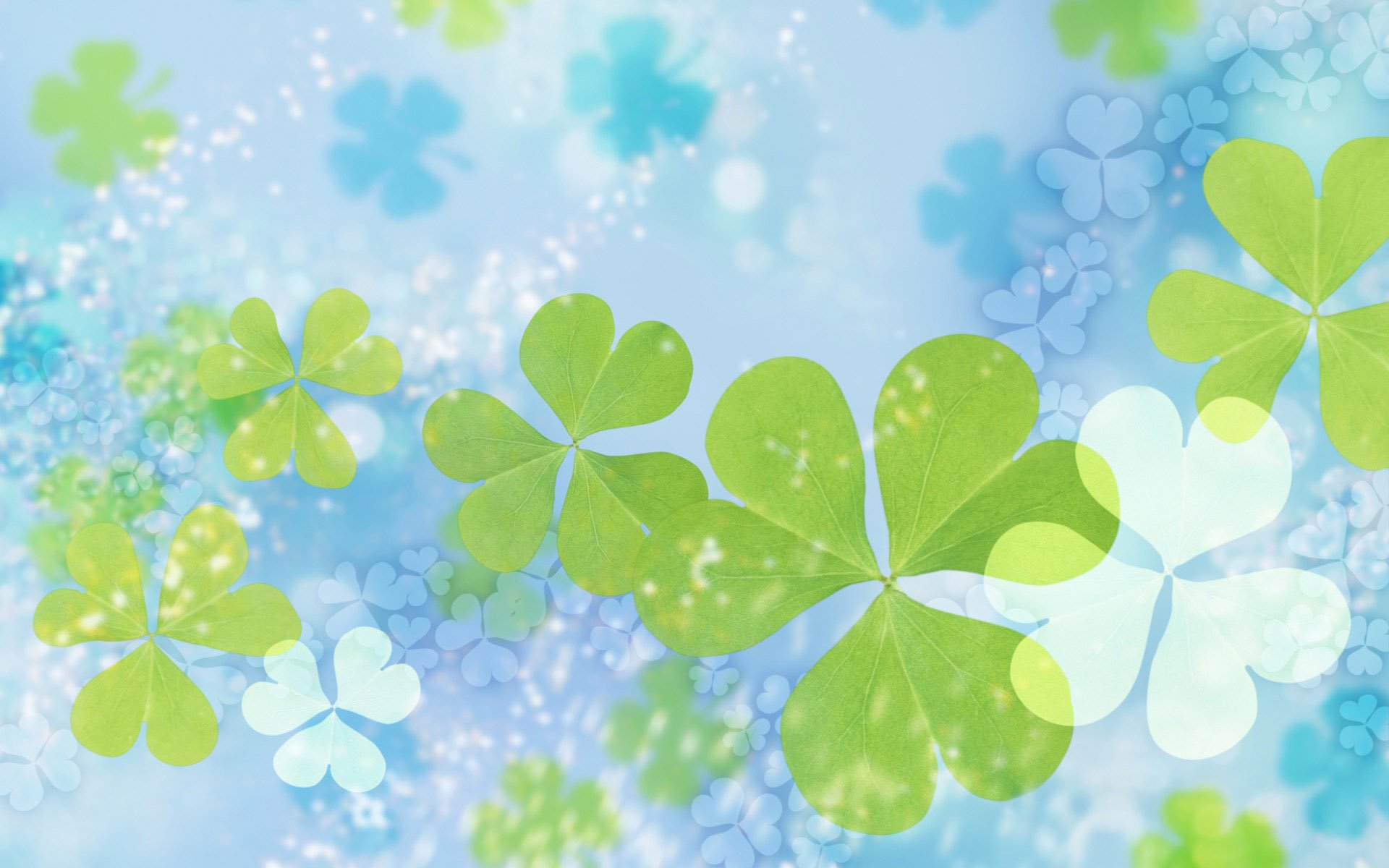 Green And White Flower Blue Background Entertainment Center 1920x1200