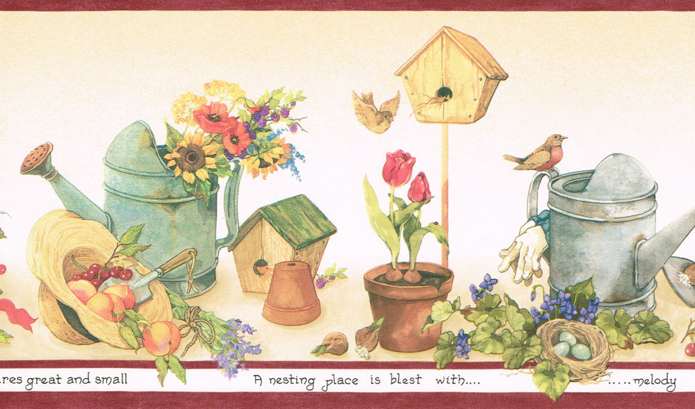 Flowers Watering Cans Bird Houses Wallpaper Border Wall eBay 1000x589