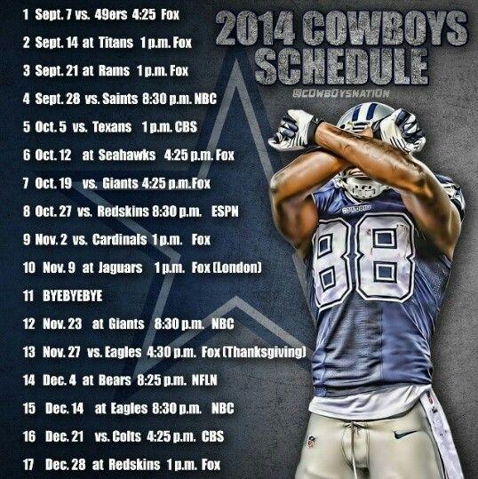 Dallas Cowboys 2014 Schedule Dallas Cowboys True Blue Pinterest 538x539
