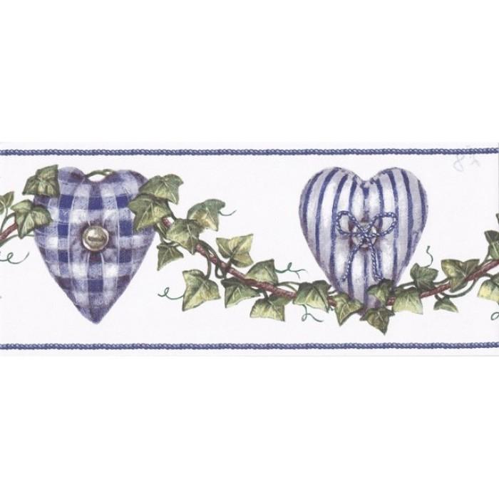 Blue White Hearted Vines Wallpaper Border 700x700