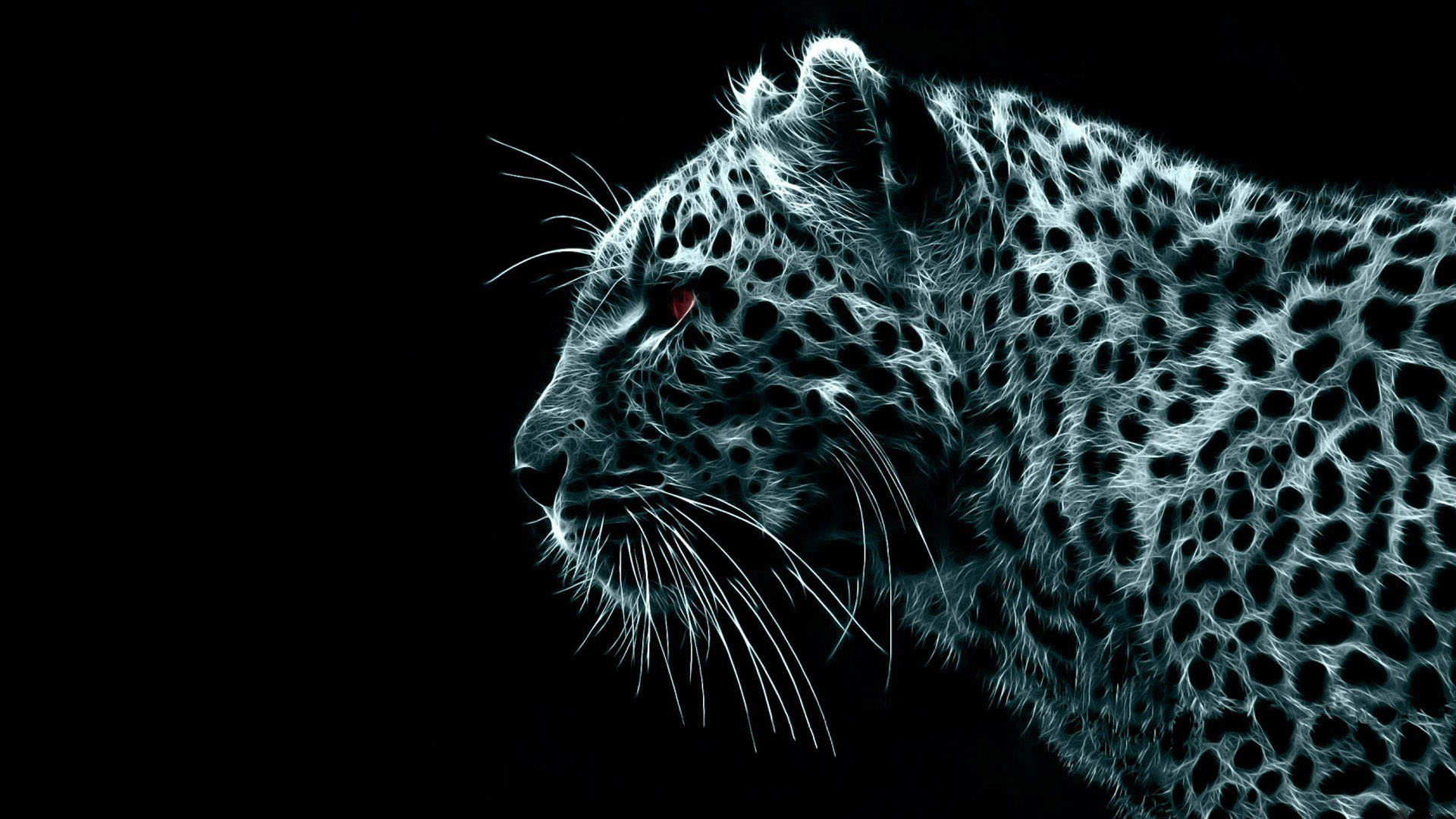 Digital Leopard Dark Wireframe 1920x1080 HD Image Abstract 3D 1920x1080