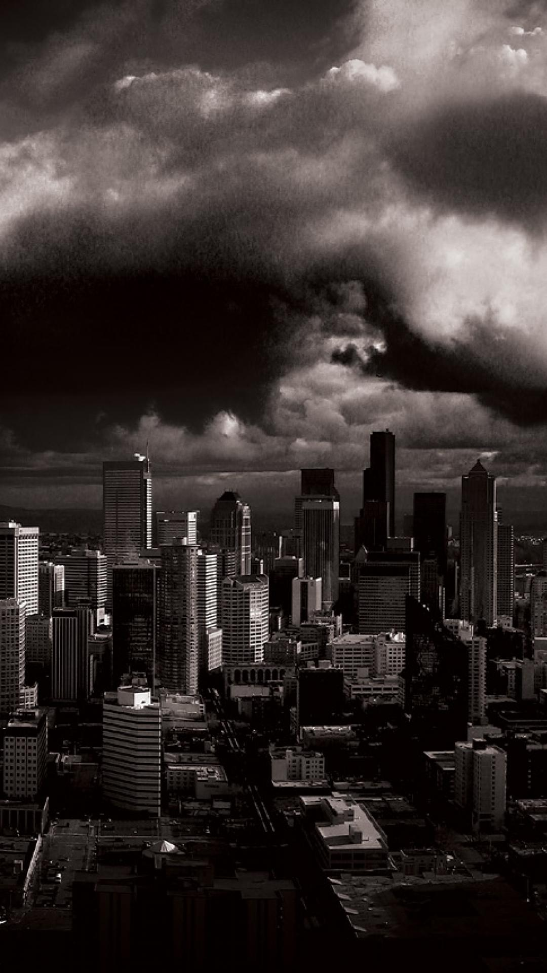 stormy seattle grayscale dual monitor hd quality Csd 1080x1920
