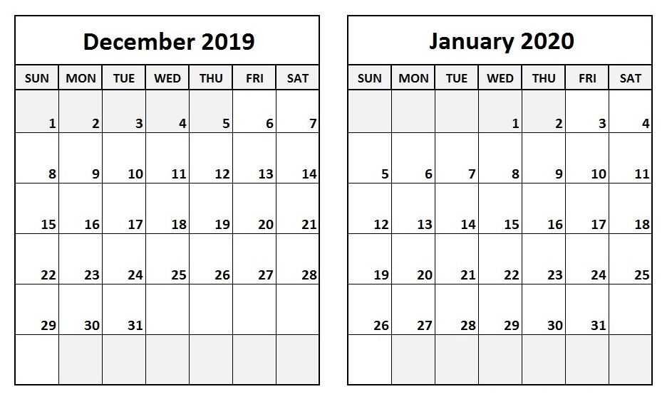December 2019 January 2020 Calendar Two Month Per Page Template 936x561