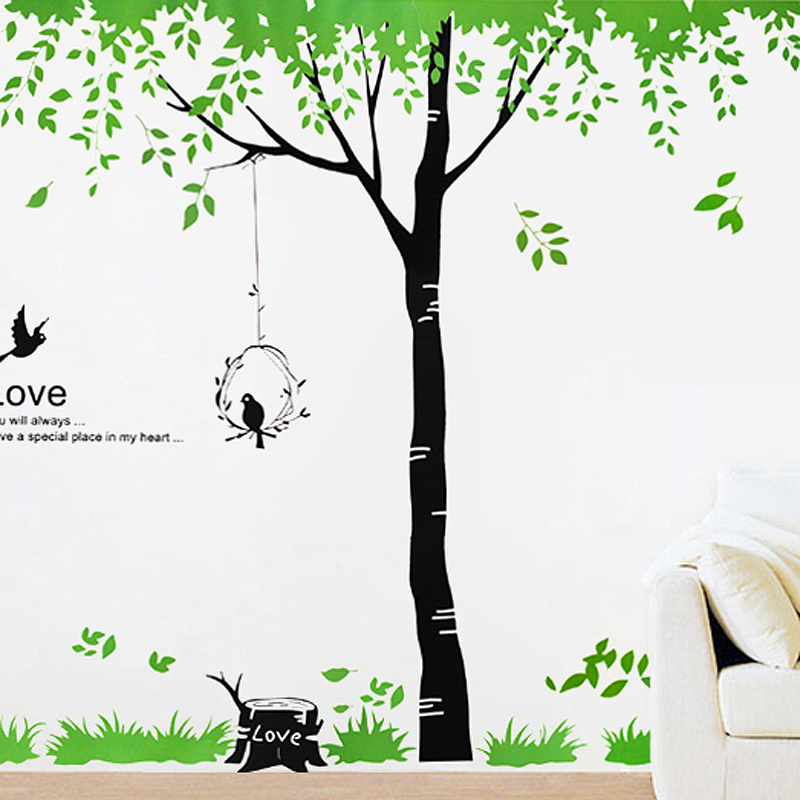Removable Wallpaper  Green Tree and Birds House wall decoration for 800x800